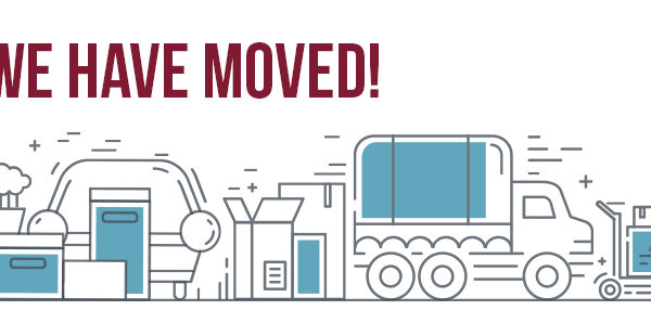 We have moved. Image of moving supplies.