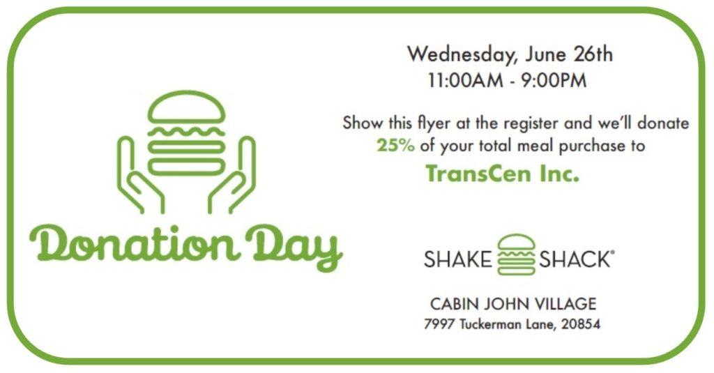 Donation Day: Wednesday, June 26th, 11AM - 9PM. Cabin John Village 7997 Tuckerman Lane, 20854. Mention Transcen
