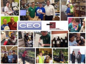 Picture collage of various CEO customized employment program participants at their place of employment